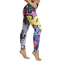 Tomwell Leggins para Damas Patrón de Navidad Pantalones Deportivos Largos para Training Running Yoga Fitness Transpirables con Cintura Alta Multicolor Small