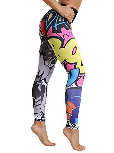 Tomwell Leggings Sportivi Donna Pantaloni da Yoga da Donna Stampa Modello di Natale Sport Yoga Fitness Palestra Leggings Multicolore Large