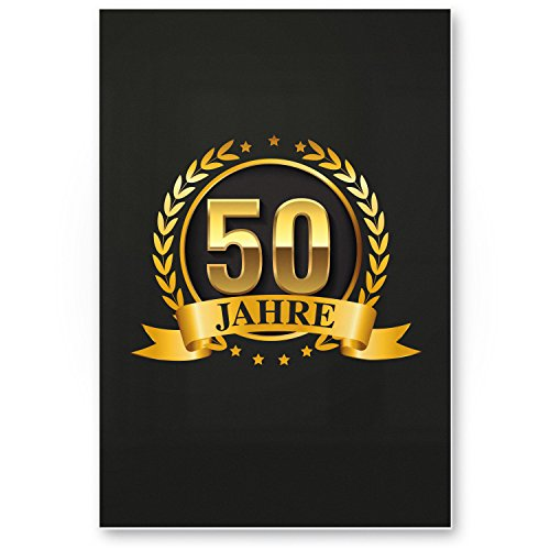 Bedankt! 50 jaar goud, plastic bord - cadeau 50e verjaardag, cadeau-idee verjaardagscadeau vijfmiste, verjaardagsdecoratie, feestaccessoires, verjaardagskaart