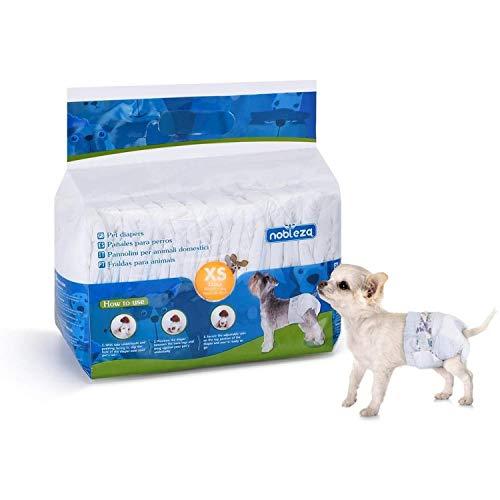 Nobleza - Pañales para Perros Desechables Hembra Cachorro Entrenamiento Pañales Súper Absorbente Envolturas para Mascotas Paquete de 12 Cintura 18-30CM ,XS para 1-2 KG