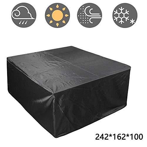 Hualiyuyuan - Funda para muebles de patio al aire libre, rectangular, funda para mesa de patio, impermeable, polvo de nieve, resistente al viento y a los rayos UV, 210D, 242x162x100cm