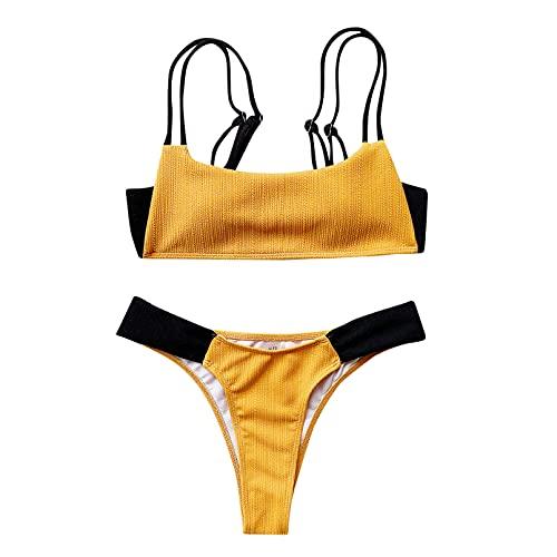 KUNIUO Mujeres Biquini Girl Summer Sexy Bikini A Juego De Color Sólido Conjunto Push Up Traje De Baño Ropa De Playa Traje De Baño Acolchado-Beige,M