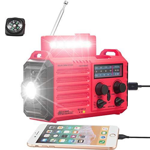 Solar Hand Crank Portable NOAA Weather Alert Radio,5-Way Powered AM/FM/SW Emergency Radio for Household&Outdoor,5000mAh Battery Power Bank USB Charger,LED Flashlight/Camping Lantern,SOS Alarm&Compass