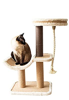 Catry, Cat Tree Cradle Bed with Natural Sisal Scratching Posts and Teasing Rope for Kitten (Beige)