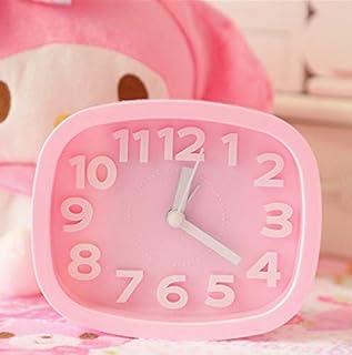 Renfengchui rosa liten tyst mode personlighet dawdler barn alarum sängbord väckarklocka LED fluorescerande digital väckark...