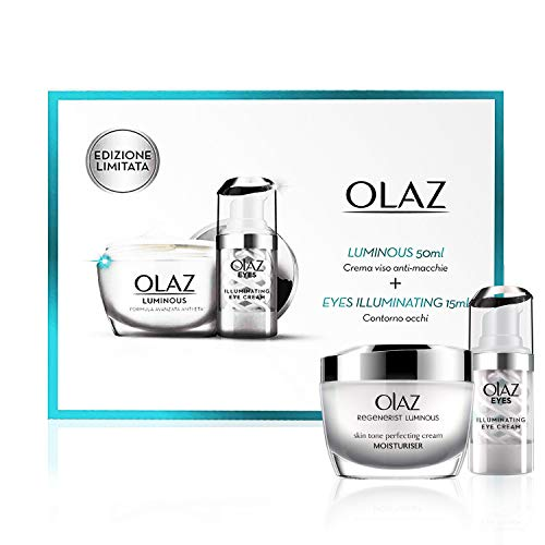 Olaz Luminous Cofanetto Regalo, Crema Viso Antirughe e Antimacchie Giorno, 50 ml e Eyes Illuminating Crema Contro le Occhiaie, 15 ml