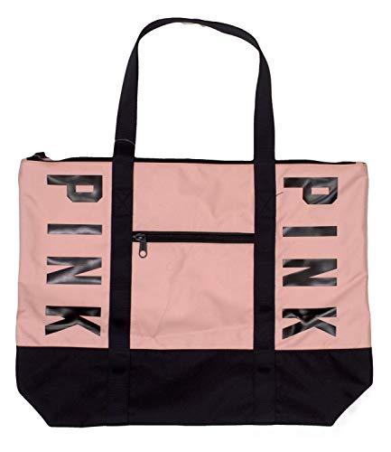 Victoria's Secret PINK Zip Tote, Pink Black Logo