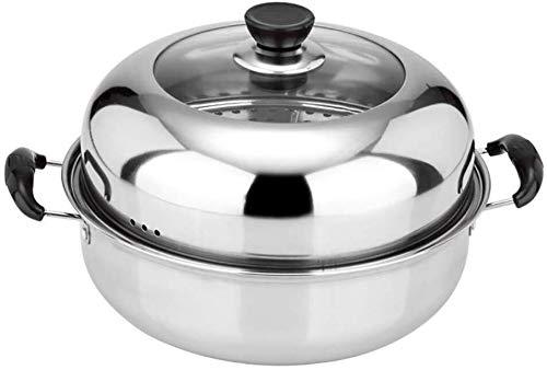 XIN Cocina Olla Vapor Vaporera Nivel 2 Vapor Conjunto de la Cacerola for cocinar al Vapor Pot Placa de inducción de Gas Universal Stock Pot 28cm