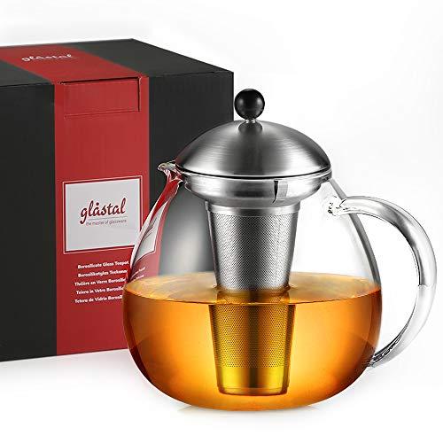 glastal Glas Teekanne 1500ml mit 18/8 Edelstahl Teesieb Borosilicate Glas Teebereiter Glaskanne Geeignet für Teewarmer