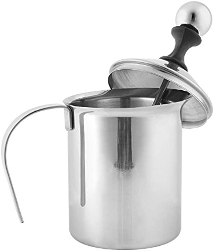 Amicc 400ml Stainless Steel Milk Frother Cappuccino Coffee Frother Double Froth Pump 400ml Capacity