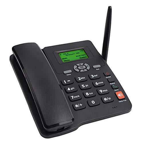 Telefono Fisso GSM Fisso Telefono da Tavolo SIM Card Mobile Casa Office (Nero)
