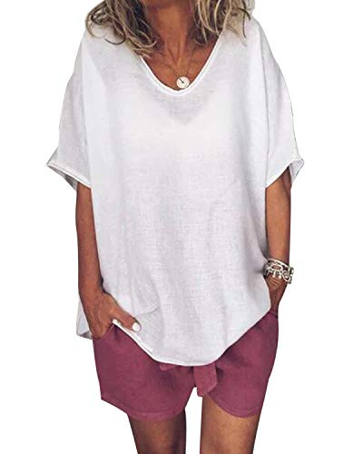 Femme Tops Hauts Chic Ete Casual Blouse Col Rond Tee Shirt Plage Loose Coton Lin Chemise Chic Tunique