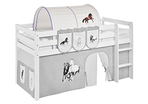 Tunnel Pferde Lila Beige - für Hochbett, Spielbett und Etagenbett