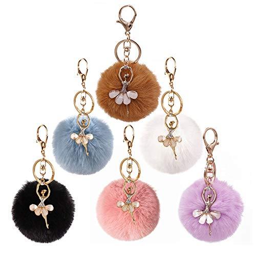 6 Stück Schlüsselanhänger,Kuaetily Ballerina Strass mit Plüsch Ball Taschenanhänger Kaninchenfell Keychain Anhänger für Handtasche Schlüssel Rucksäcke Auto Deko