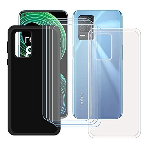 szjckj 2 x Funda para OPPO Realme 8 5G (6,5')+ 4 x Protector de Pantalla, Case Cover Carcasa Bumper Negro + Transparente Clear TPU Silicone Cristal Vidrio Templado.