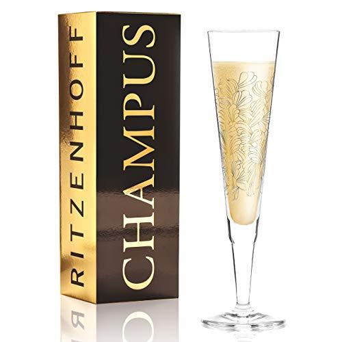 Ritzenhoff Copas de champán Champus de Lenka Kühnertová (Blossoms) de cristal de 205 ml con piezas de oro y platino