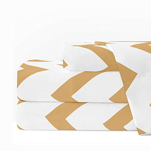 Egyptian Luxury 1600 Series Hotel Collection Chevron Pattern Bed Sheet Set - Deep Pockets, Wrinkle and Fade Resistant, Hypoallergenic Sheet and Pillowcase Set - Queen - Gold/White