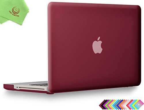 UESWILL Smooth Soft-Touch Matte Hard Shell Case Cover for MacBook Pro 15 inch with CD-ROM (Non-Retina) (Model A1286) + Microfibre Cleaning Cloth, Wine Red