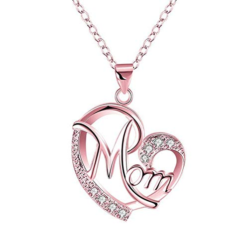 HINK Exquisite Women's Gold Silver Rose Gold Mom's Love Shaped Diamond Necklace Necklaces & Pendants Jewelry & Watches For Woman Valentine Easter Gift