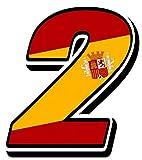 Biomar Labs® Número 2 Bandera Nacional España Spain Calavera Vinilo Adhesivo Pegatina Coche Auto Motocross Moto Sport Start Racing Tuning N 282Z