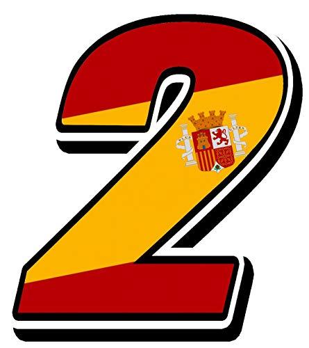 Biomar Labs® Número 2 Bandera Nacional España Spain Calavera Vinilo Adhesivo Pegatina Coche Auto Motocross Moto Sport Start Racing Tuning N 282