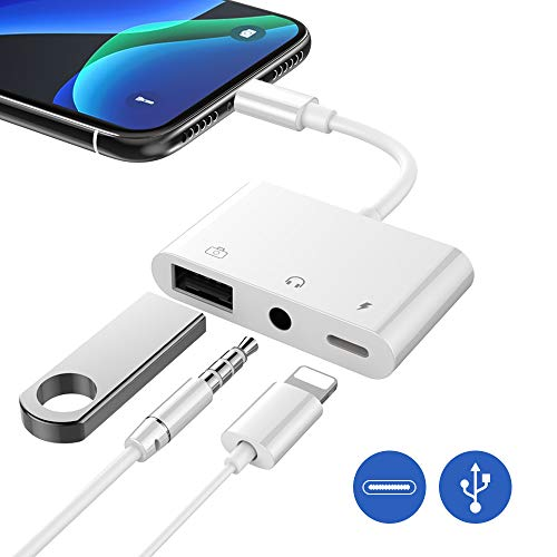 FLYLAND 3 in 1 USB 3 Kamera Audio Adapter USB 3.0 Adapterkabel, Ladeanschluss und 3,5 mm Kopfhörerbuchse Kompatibel mit Phone Xs/XR/X/8/8P/7 oder Pad iOS (White)