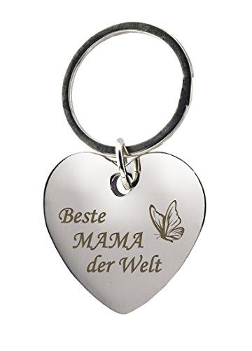 GESCHENKE-FABRIK Schlüsselanhänger - Herz mit Gravur 'Beste Mama der Welt' mit Schmetterling - Metall im Chrom Stil - Geschenk für Mamas für jeden Anlass - Inkl. Geschenkverpackung