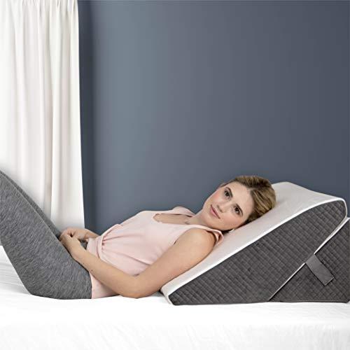 Almohada de cuña ajustable de espuma viscoelástica de 22,8 cm y 12 pulgadas de altura | Elegante funda jacquard chic | Almohada de cuña multiusos para dormir, almohadas de cuña...