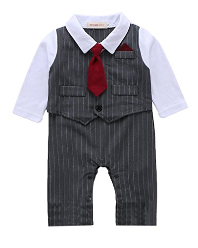 Minetom Kinder Jungen Herbst Frühling Streifen Weste Lange Ärmel Strampler Anzug Mit Rote Krawatte Grau 95