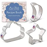 Ann Clark Cookie Cutters 3-Piece Twinkle Little Star and Sweet Dreams Cookie Cutter Set with Recipe Booklet, Star, Moon