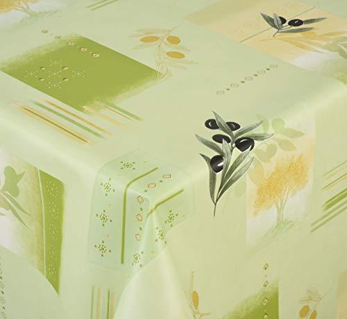 Venilia Olivier Nappe Vert Olive Linge de Table Toile cirée Maintenance réduite hydrophobes, Polyester, PVC, carré, x 140 cm, 55049, 140 x 140 cm