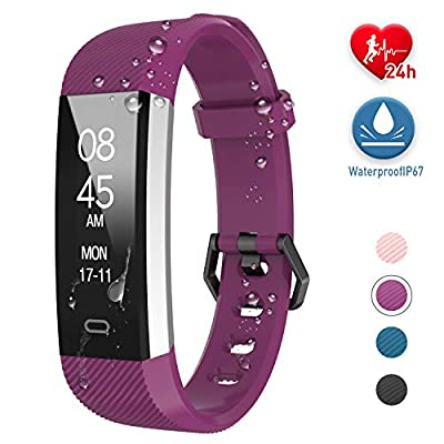 Fitpolo Fitness Tracker, Activity Tracker Watch with Heart Rate Monitor Waterproof Smart Fitness Wristband with Step Counter, Calorie Counter, Pedometer for Kids Men Women(Purple)