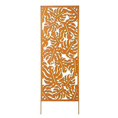 Pureday Dekoobjekt Sichtschutz Blätter - Edelrost Gartendeko - Gartenstecker - Metall - Rost - Höhe ca. 150 cm