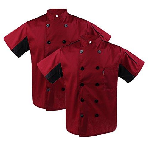 chiwanji 2 Stück Kurzarm Kochjacke Bäckerjacke Kochkleidung Koch Gastronomie Hotel Uniform Küche Arbeitskleidung - rot, M