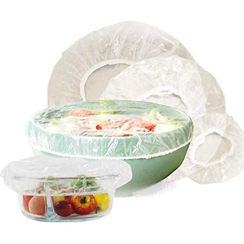 JUNCHUANG Kunststoff-Lebensmittelabdeckungen, Dehnbare, klare Lebensmittelaufbewahrungsabdeckungen mit Gummizug für Schüsselteller
