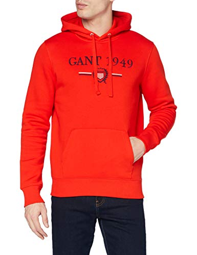 GANT D1. 1949 Crest Sweat Hoodie Sudadera con Capucha, Lava Red, 667 para Hombre