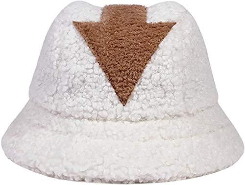 PoJu Avatar The Last Airbender Appa Bucket Hat Aang Disfraz Gorra de Vestir Unisex Lana de Cordero Sombreros de Invierno Blanco