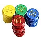 VILLCASE 80 Piezas de Fichas Redondas de Póquer Conteo de Fichas de Póquer Placas de Póquer Texas Fichas de Poker Casino Juegos de Colores Suministros de Entretenimiento