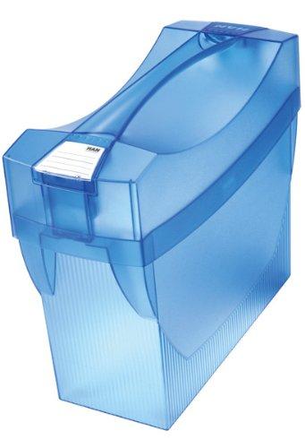 Han Swing Plus Comfort - Caja archivadora de carpetas colgantes (397 x 347 x 154 mm, con bolsillos para bolígrafos), color azul translúcido