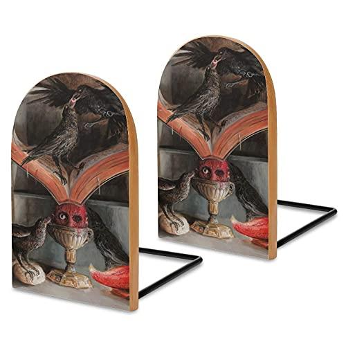 Santiago Caruso Sujetalibros para estantes, sostenibles de madera Sapele para escritorio de oficina, extremos antideslizantes para libros, películas, DVD, soporte de libros de 5.1 x 3.2 x 1.6 pulgadas