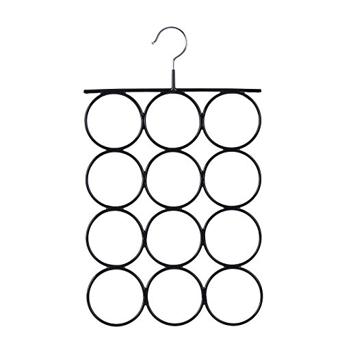 SONGMICS Organizador para Pañuelos y Bufandas, Percha metálica con 12 Anillos, 25,2 x 41,5 cm, Color Negro CRI22B