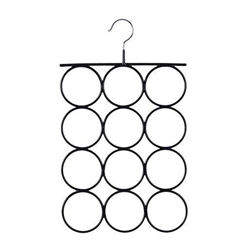 SONGMICS Gruccia a Anelli Porta Sciarpa, Appendino in Metallo Antiscivolo, Cravatte, Cinture a 12 Anelli, 25.2 x 41.5 cm CRI22B