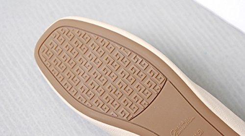 [ZUYEE](ズイェ)レディースパンプスローヒールVカットスクエアトゥリボンフラットシューズぺたんこバレエシューズ柔らかい歩きやすいカジュアルベージュ23.5cm