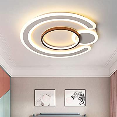 Szlight Moderne Plafonnier LED Rond Plafonnier Carré en Forme De Ménage Gradation Interrupteur Mural pour Salon Chambre Salle à Manger Couloir Bureau Magasin (Round-Shaped 52 * 6.5cm)