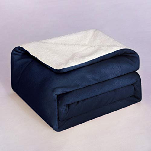 BEDELITE Sherpa Fleece Baby Blanket Unisex for Boys, Girls, Kids, Toddler, Infant, Newborn,Cozy Warm Soft Fuzzy Blanket, Plush Microfiber Blanket for Crib Stroller-Navy Blue 30x40 inches