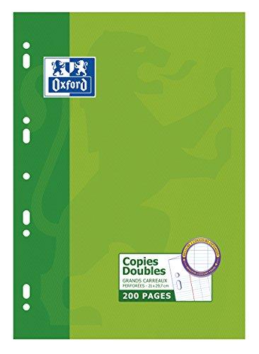 OXFORD Lot de 5 Étuis de 200 Pages Copies Doubles Perforées A4 Grands Carreaux Seyès Etui Carte Vert