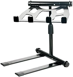 Pyle Portable Folding Laptop Stand - Standing Table with Adjustable Angle, Foldable Height and Four Prong Anti-Slip Tray for iPad, Tablet, DJ Mixer, Workstation, Gaming and Home Use - PLPTS55
