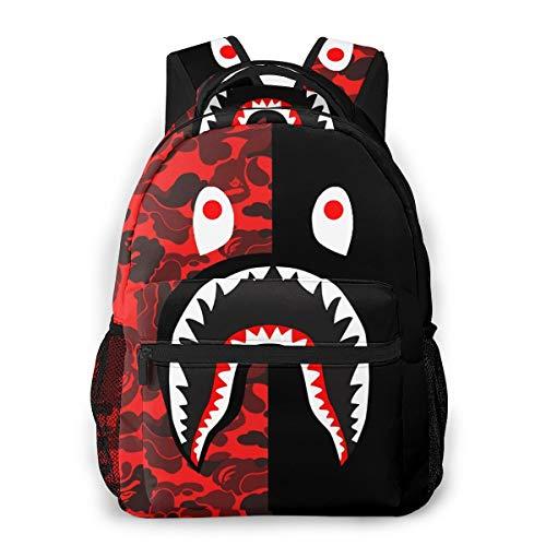 Ba-pe Blood Shark Half Red Camo Backpacks Travel Laptop Daypack School Bags For Teens Men Women