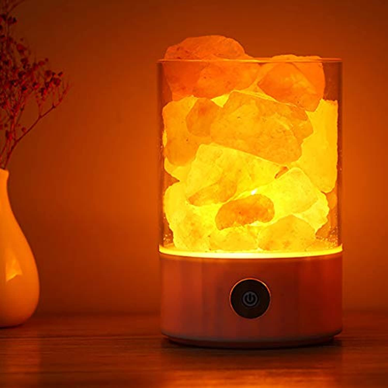 Tisch- & Nachttischlampen Schreibtischlampennachttischlampen Und Tischlampen Schreibtischlampencreme Salzlampe Negative Ionenluftreinigungslampe, Rund Schwarz