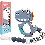Panny & Mody - Chupetero Personalizado Para Bebe con Nombre Bola Silicona Antibacteria con Dinosaurio Lindo Mordedores(Gris)